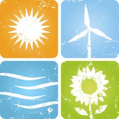 Erneuerbare Energien Symbole