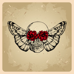 skull with flowers and a moth in a tattoo style