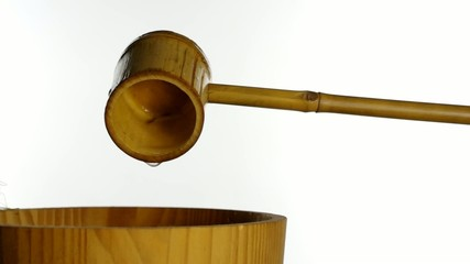 japanese traditional bamboo ladle with water