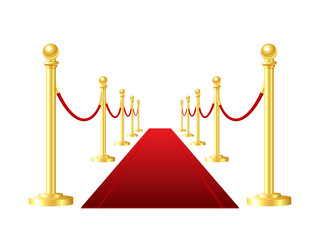 red event carpet isolated on a white background