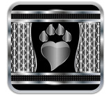 Background metal Paw print love.Vector