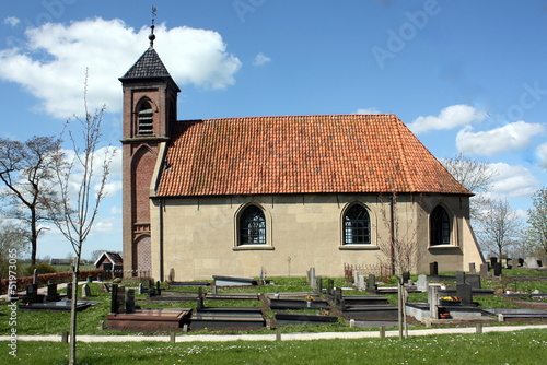 Small church from 1648 in Dorkwerd.The Netherlands