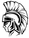spartan warrior black and white vector profile