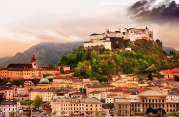 Salzburg city on sunset with castle view, Austria