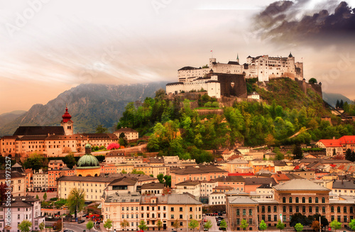 Salzburg city on sunset with castle view, Austria