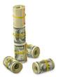 many rolls of money on a white background