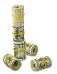 many rolls of money on a white background