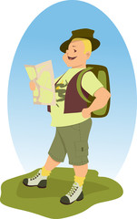 Happy hiker with a backpack looking at the map