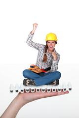 Excited female builder