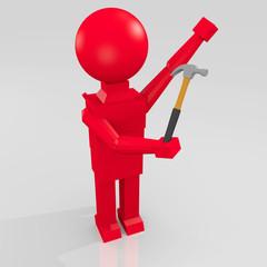 figura umana 3D con martello
