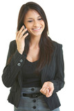 Happy business female with cell phone