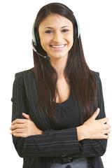 Happy beautiful hispanic business female telemarketer