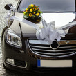 Decorated wedding car - front view