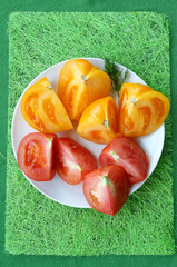 Cutted multicolored tomatoes