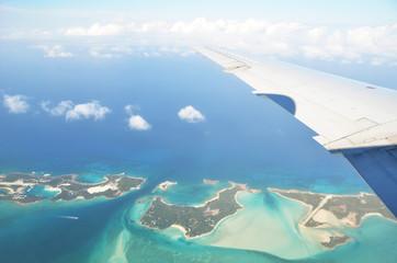 Aerial view of Exuma Cays. Bahamas