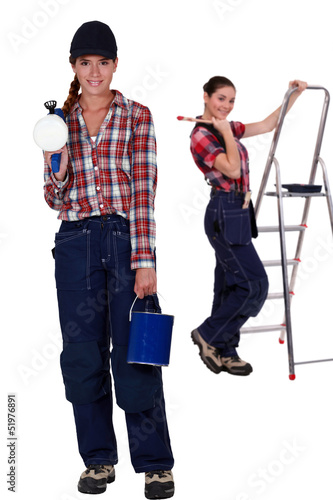 Two female interior decorators