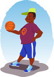Young smiling African-American man with a basketball