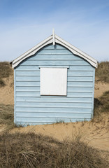 Blue Beach Hut in the Dunes, Hunstanton, Norfolk, UK.
