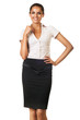 smiling businesswoman in skirt