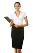 smiling cute business woman with black folder