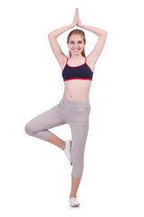Young woman doing exercises on white