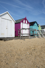 Beach Huts at Felixstowe, Suffolk, UK.