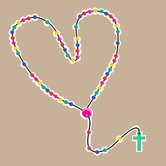Colorful heart shaped beaded rosary
