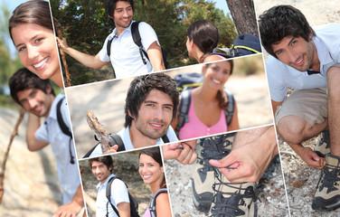 Couple of backpackers hiking