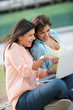 Girls using a laptop