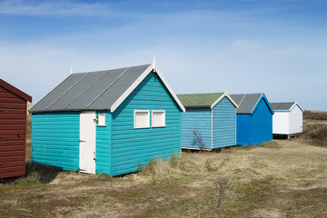 A Row Of Colorful Beach Huts, Hunstanton, Norfolk, UK.