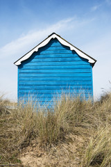Blue Beach Hut at Hunstanton, Norfolk, UK.
