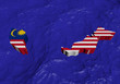 Malaysia map flag in abstract ocean illustration