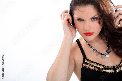 Wild woman listening to music