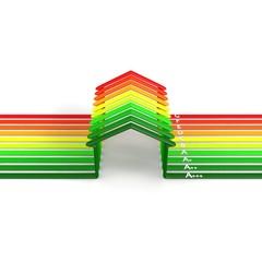 classi energetiche su case a strisce con lettere