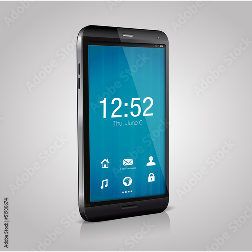 Vector smartphone with blue  welcome screen