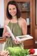 Woman reading a recipe