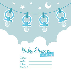 Blue Baby Shower Invitation with Pacifiers