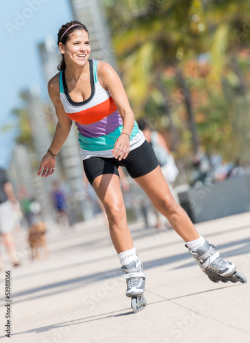 Woman skating outdoors