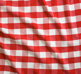 red and white linen tablecloth