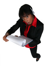 Businesswoman shocked by document