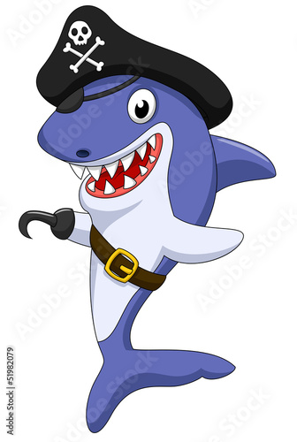 Cute pirate shark cartoon