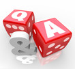 Q and A Questions Answers Letters on Red Dice