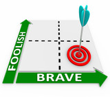 Brave Vs Foolish Words Matrix Courageous or Risky Choice poster