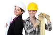 female architect stood with female carpenter