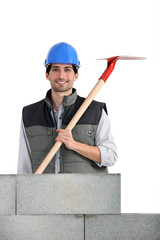 Builder with a shovel
