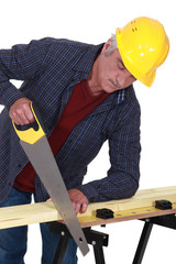 Construction worker sawing a plank of wood
