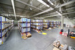 Large warehouse with shelves at factory