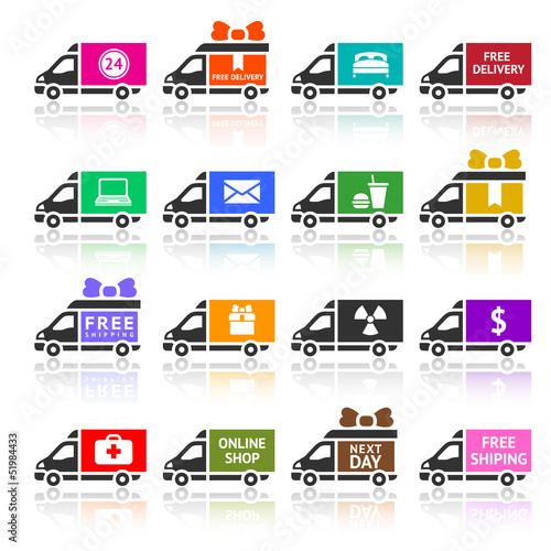 Set of Cargo trucks colored icons