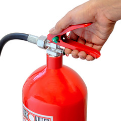 Holding fire extinguisher isolated over white background