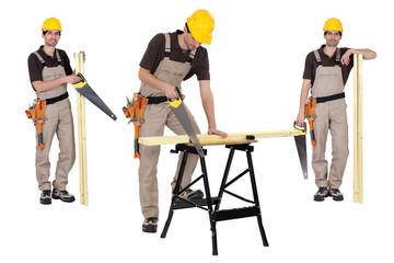 Carpenter using handsaw